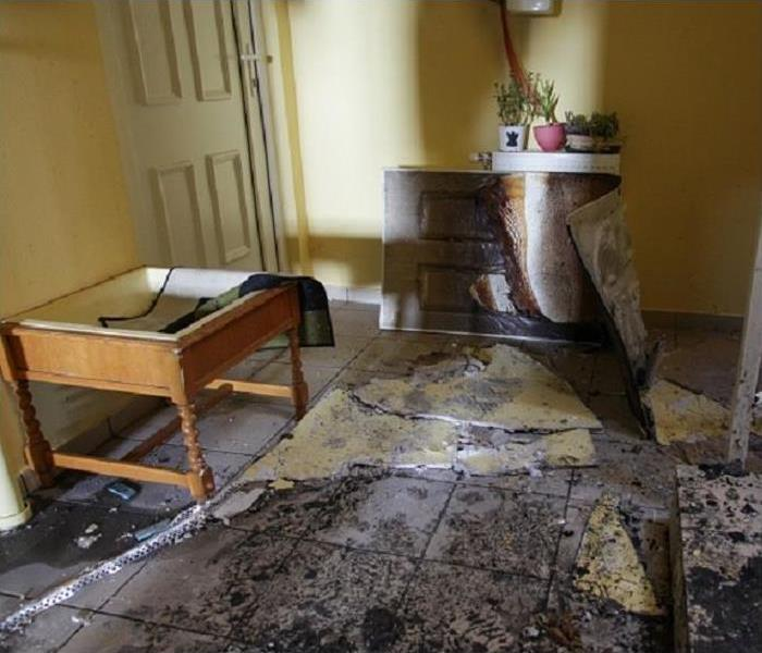 fire damaged foyer